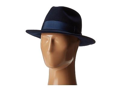 Country Gentleman Frederick Wide Brim Fedora Hat (Navy) Caps