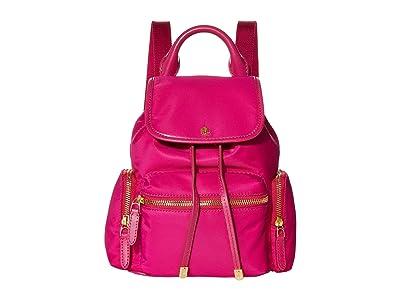 LAUREN Ralph Lauren Keely 17 Soft Nylon Backpack Small (Deep Fuchsia) Backpack Bags