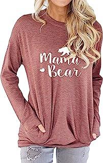48356df1d56e5 Nlife Women Mama Bear Shirt Mama Bear Sweatshirt for Women Long Sleeves  Loose Fit Casual Pullover