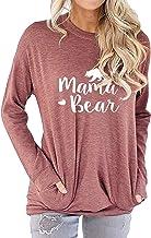 Ezcosplay Women Mama Bear Letter Print Shirt Casual Loose Graphic Tunic Tops