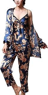 Romanstii Satin Pajamas Set Silk Sleepwear Cami Nightwear Sexy Lingerie PJ Set