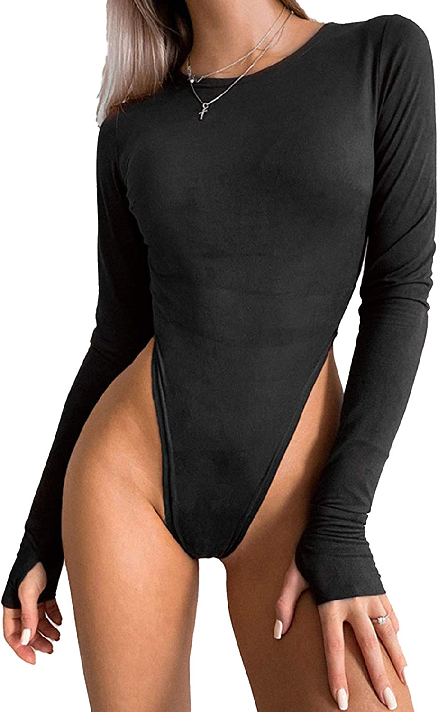 Doomiva Women Long Sleeve Bodysuit Tops Thumb Hole High Cut Jumpsuit Leotard Slim Fit Shirt Clubwear