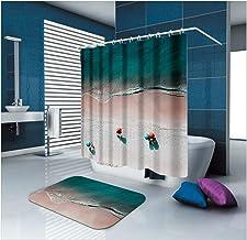 Epinki Polyester Bathroom Curtain Mat Set Blue Brown Sea Beach Bathroom Shower Curtain with 12 Hooks Size 120x180CM Bathro...