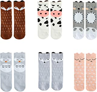 Baby Girls Boys Knee High Socks Cotton Newborn Infant Kids Toddler Stockings, 6 Pairs