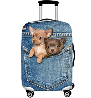 YAKEFJ Travel Rolling Luggage CoverCute 3D Luggage Protector Suitcase Cover (XL, Denim Dog)