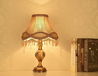 Mopoq Table Lamp European-Bedside Lamp Led Lights E27 Lamp Handmade Princess Victorian Style Resin Lamp Button Switch for ...