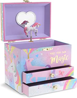 Jewelkeeper Musical Jewelry Box with 2 Pullout Drawers, Glitter Rainbow and Stars Unicorn Design, Over The Rainbow Tune
