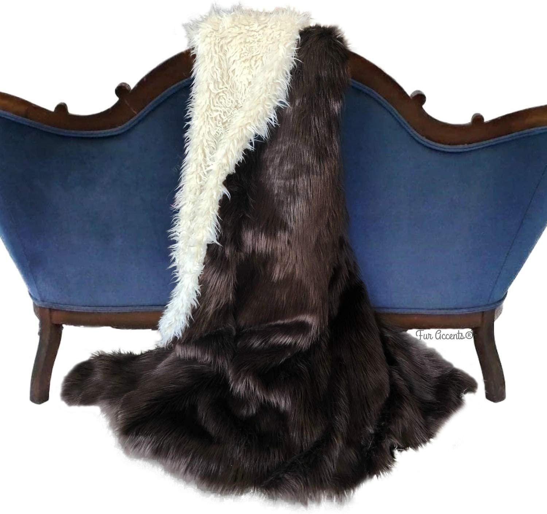 Buffalo Throw Blanket Limited price Extraordinary Faux Brown Dark Fur Popular brand Rich S