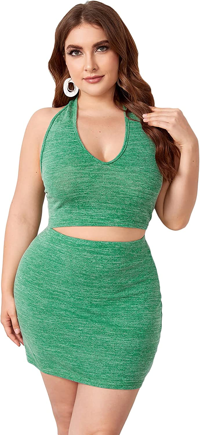 Milumia Women's Plus Size Workout Set 2 Piece Outfits Halter Crop Top and Skirt Tracksuit