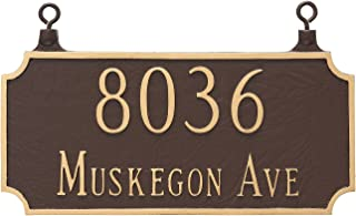 Montague Metal TSH-0005S2-H-BG Double Sided Hanging Princeton Two Line Address Sign Plaque, 7.25