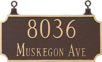 "product image for Montague Metal TSH-0005S2-H-SS Double Sided Hanging Princeton Two Line Address Sign Plaque, 7.25"" x 15.75"", Sand/Silver"