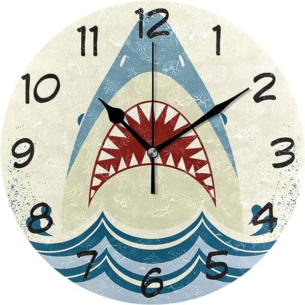 LORVIES 鲨鱼爪挂钟静音非滴答亚克力装饰 10 英寸圆形时钟家用办公室学校