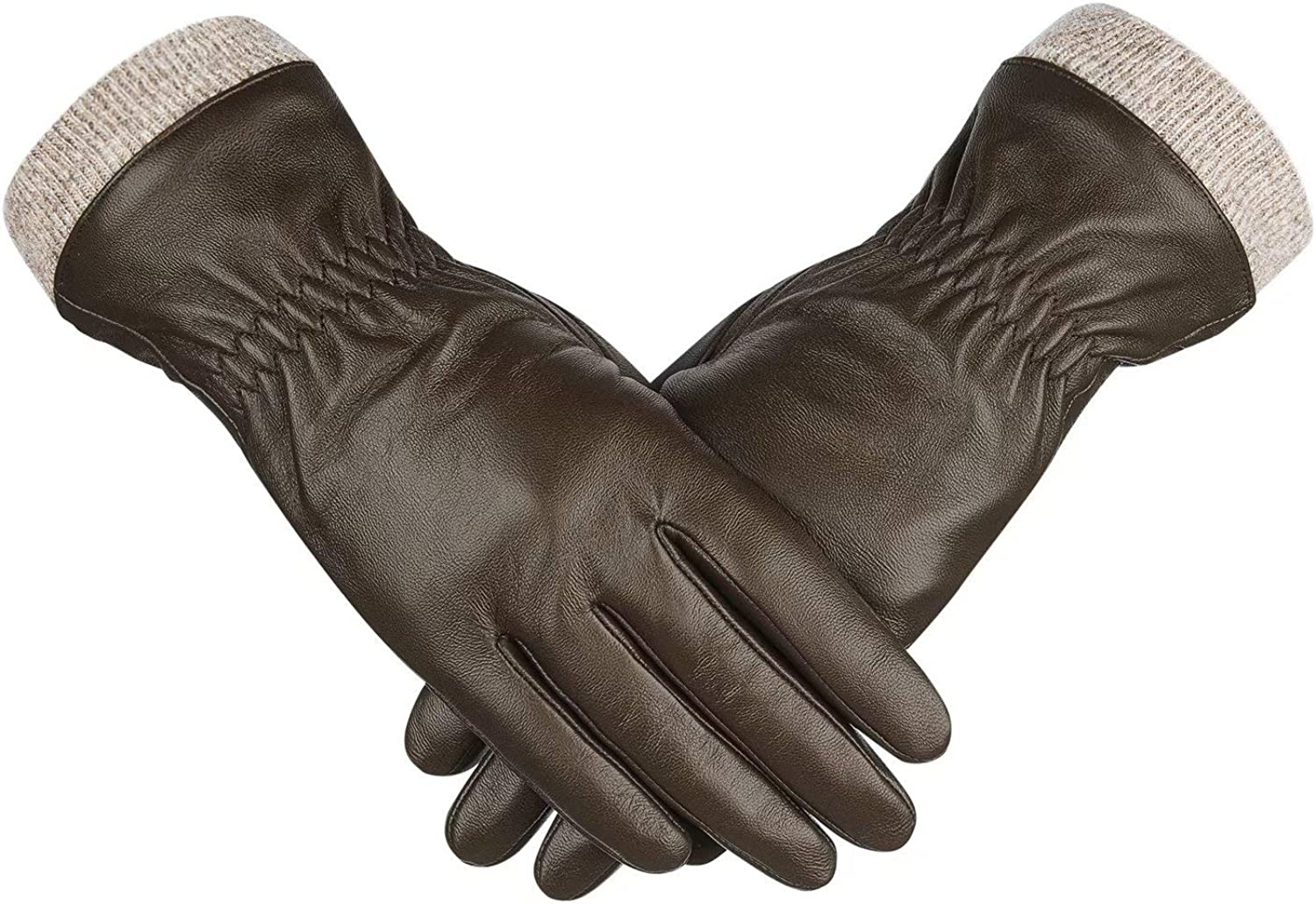 Genuine Sheepskin Leather Gloves For Women, Winter Warm Touchscreen Texting Cashmere Lined Driving Motorcycle Dress Gloves By Alepo (Khaki-XXL)