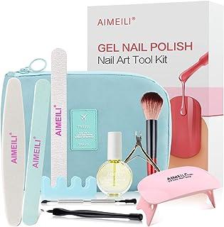 AIMEILI Gel Nail Polish Nail Art Tool Kit for Travel, Upgraded Portable Manicure Tool Kit Set, UV LED Lamp Cuticle Oil Inc...