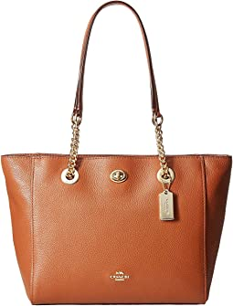 Polished Pebble Leather Turnlock Chain Tote