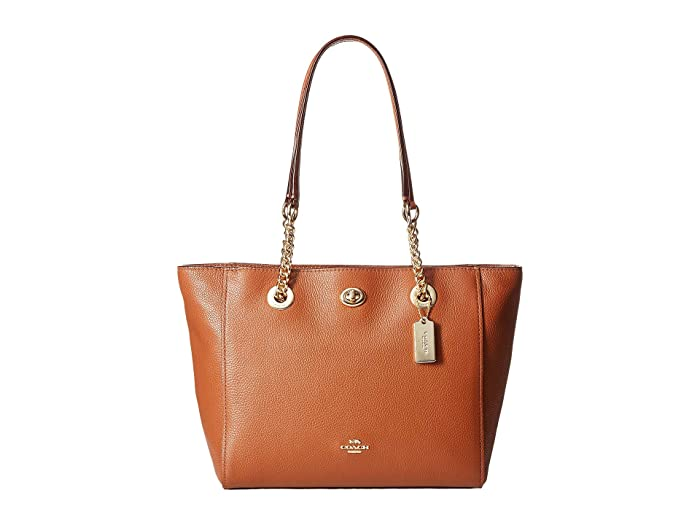 Polished Pebble Leather Turnlock Chain Tote by Coach