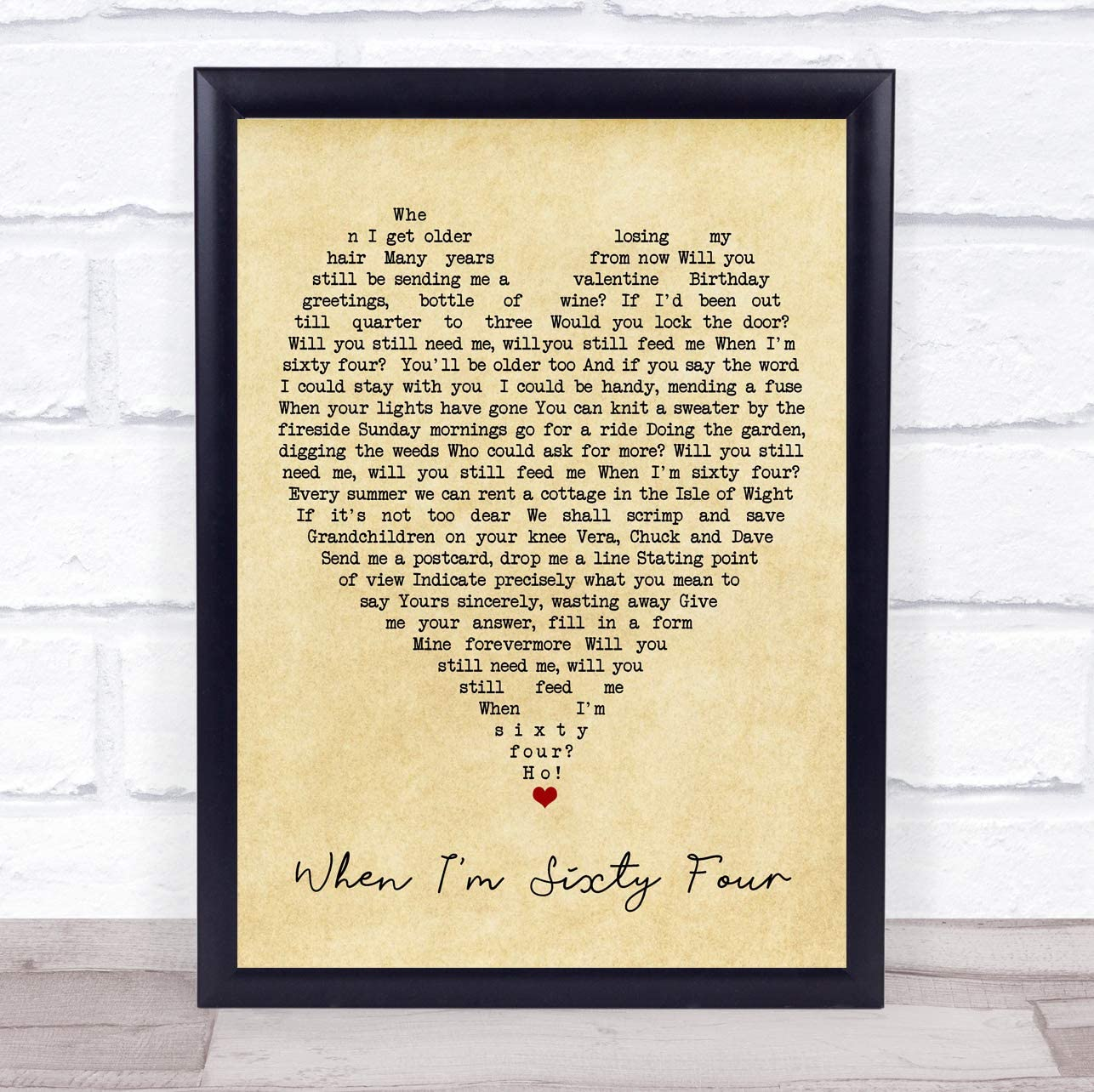 When I M Sixty Four Vintage Heart Quote Song Lyric Print Posters Prints