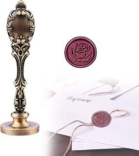 Cachet de Cire Fait à la Main, Sceau de Cire Rose, en Bois Tampon de Cachet Cire pour l'embellissement D'enveloppes, D'inv...