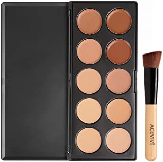 10 Colors Correcting Makeup Corrector Palette Pro Face Cream Contour with Powder Brush/Puff Sponge