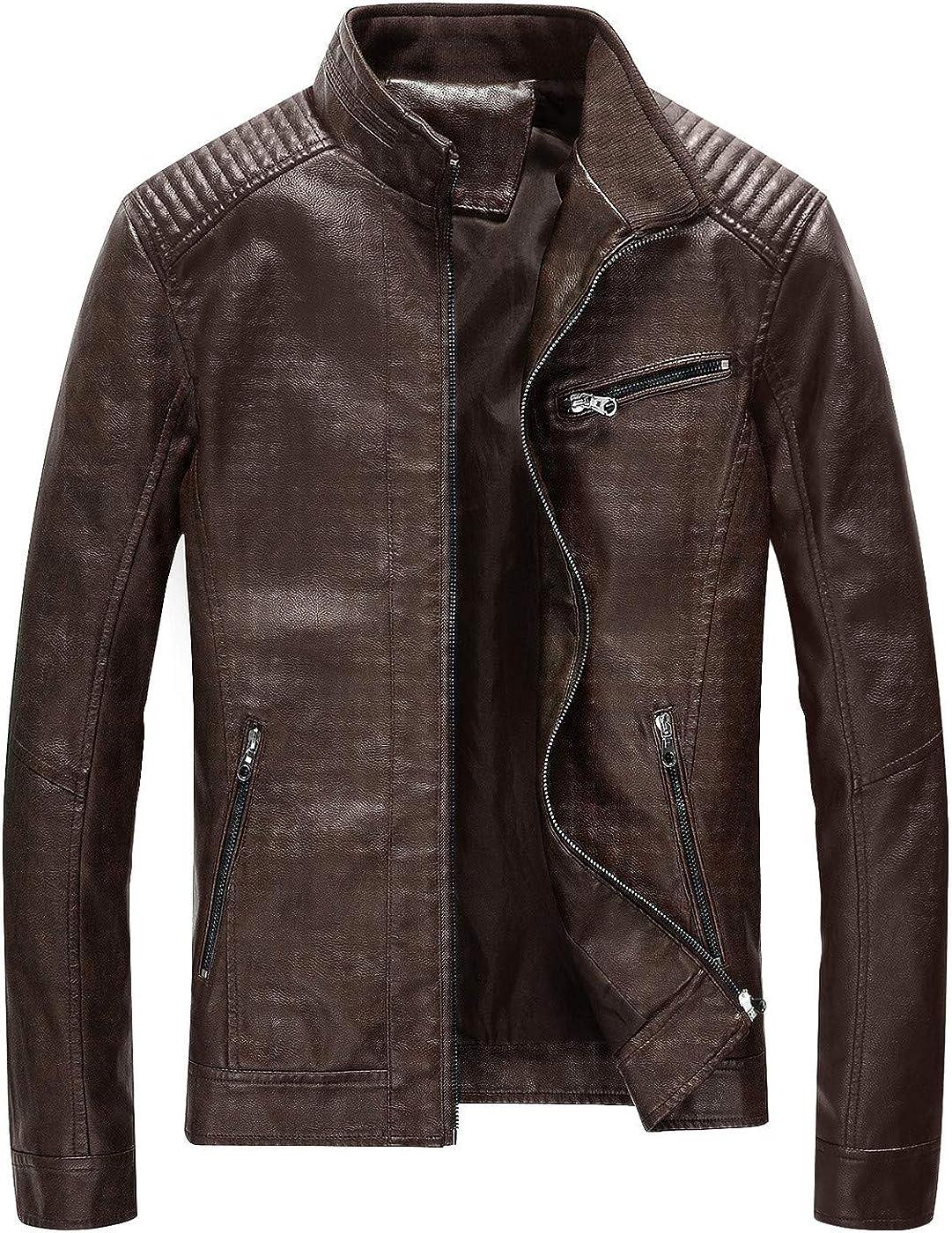 Fairylinks Leather Jacket Men Black Slim Fit Motorcyle Lightweight