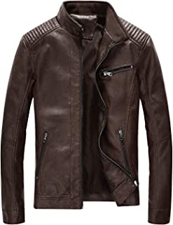 Fairylinks Leather Jacket Men Black Motocycle Lightweight Classic
