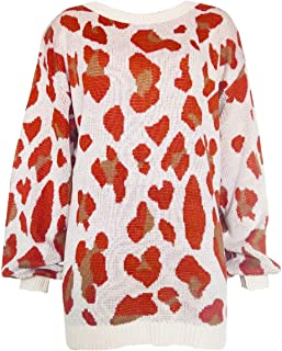 Ladies Printed Loose Sweater Round Neck Leopard Print Mid-Length Long Sleeve Pullover