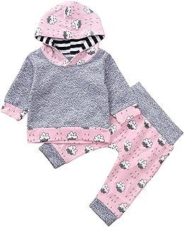 ??Aijoo??6-24ヶ月+赤ちゃん+長袖+雲+雨粒+印紙+キャップ+ピップ+プリント+パンツセット