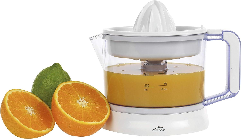 Lacor 69575 - Exprimidor de zumos ZITRUS con sistema de pulpa regulable, Libre de BPA, Apto para el lavavajillas, 40 W