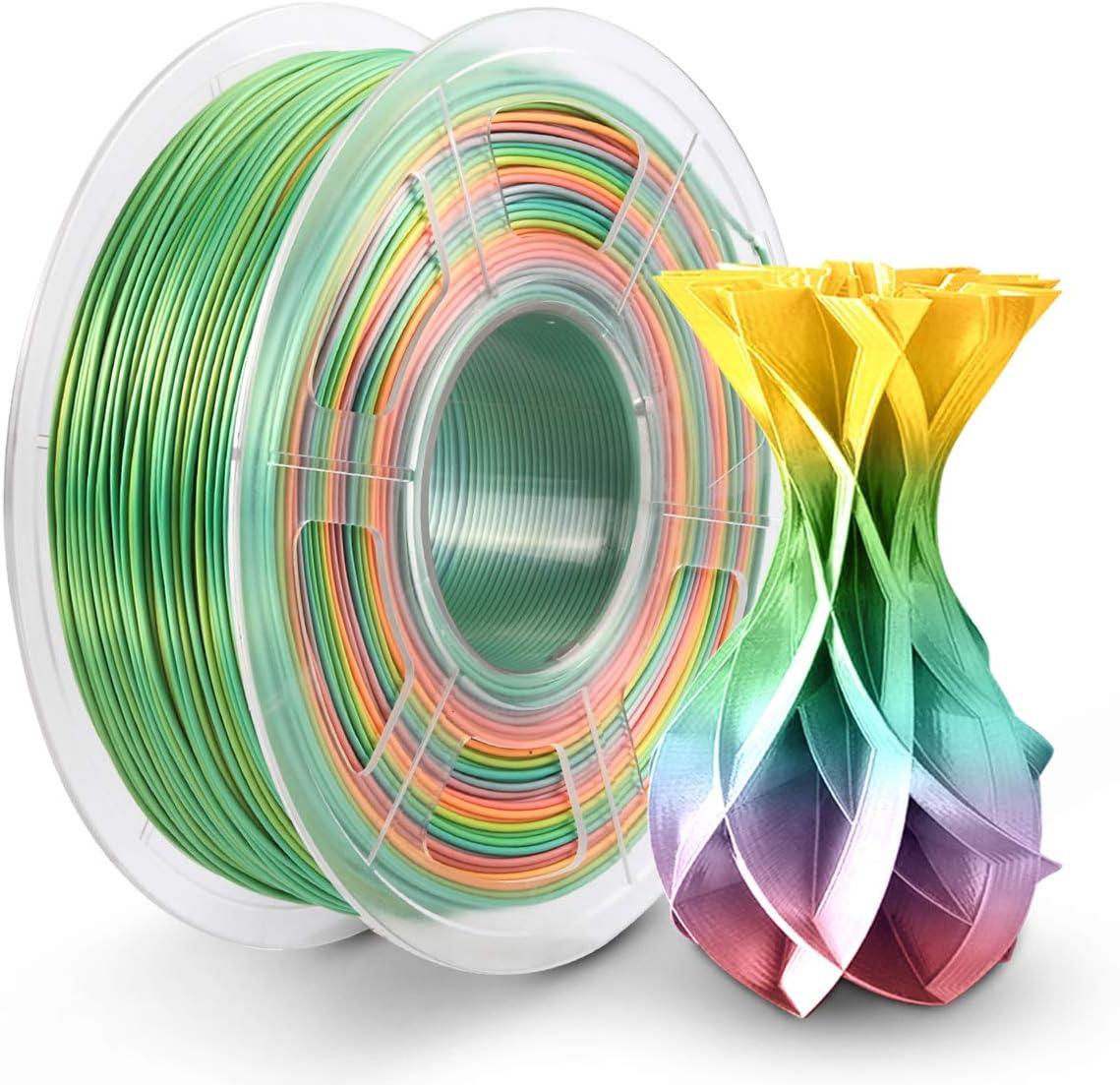 PLA Rainbow Filament 1.75mm, PLA Silk Filament Imprimante 3D 1KG Brilliant Multicolore Arc Ciel Effetr Soie