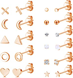 sailimue 11 Pairs Tiny Stainless Steel Stud Earrings for Women Set Cute Star Moon Heart Opal XO Earring Minimalist Small S...