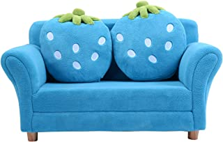 Costzon Kids Sofa, with 2 Cute Strawberry Pillows, Children Couch Armrest Chair Double Seats, Toddler Lounge Bed 2 in 1, Wooden Frame and Coral Fleece Surface for Bedroom, Living Room, Baby Room(Blue)