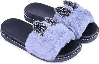WMK Designer Cute Furr Flipflop Slipper Slides for Women