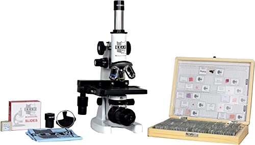 ESAW Compound Medical Microscope with 100 Prepared Microscopes Slides for Students (Magnification: 100X to 1500X)
