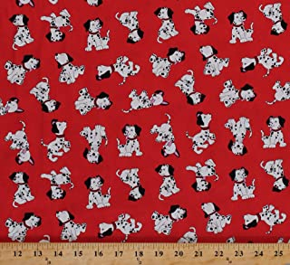 Cotton Dalmatians Puppies Puppy Fire Fighting Firefighter Dogs Animals Dalmatian Rescue Kids Children's Red Cotton Fabric Print by The Yard (20232-24)