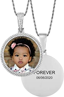TUHE Custom Picture Necklace Personalized, Customized with Text Engraving & Photo Pendant Necklaces, Gold Plated Diamond Round Angle Wings Heart Hip Hop Chain Necklace for Men Women Memory Necklace