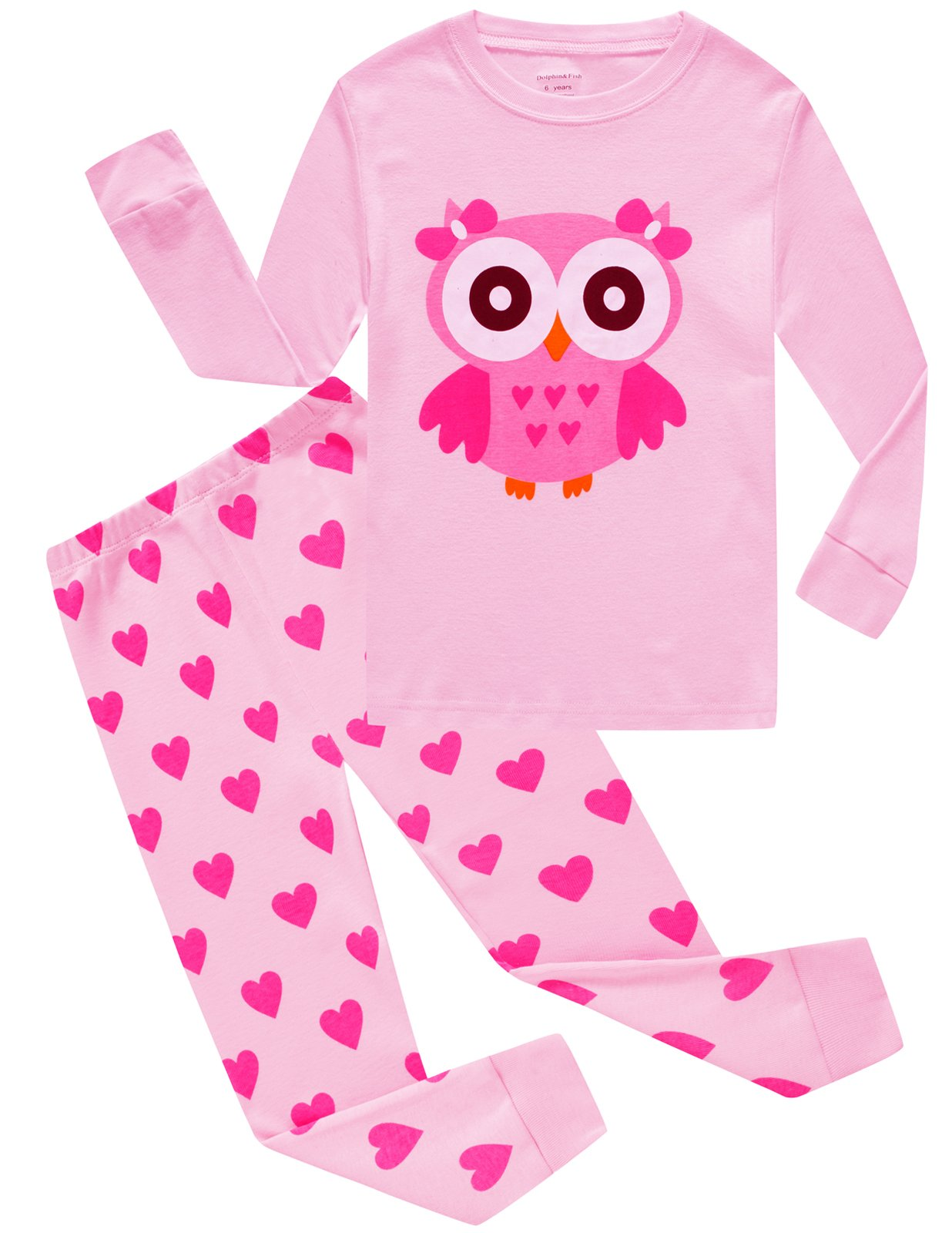Image of Cotton Pink Cartoon Owl Pajamas for Girls - See More Designs