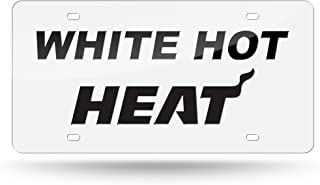 Rico Miami Heat NBA White Hot Heat Mirrored Laser Cut License Plate Tag