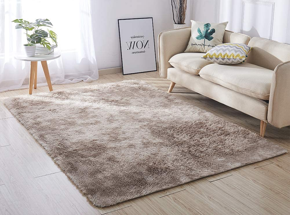 ACTCUT Ultra Soft Indoor Modern Area Rugs Fluffy Living Room Carpets for Children Bedroom Home Decor Nursery Rug 4x5 Feet, Khaki &