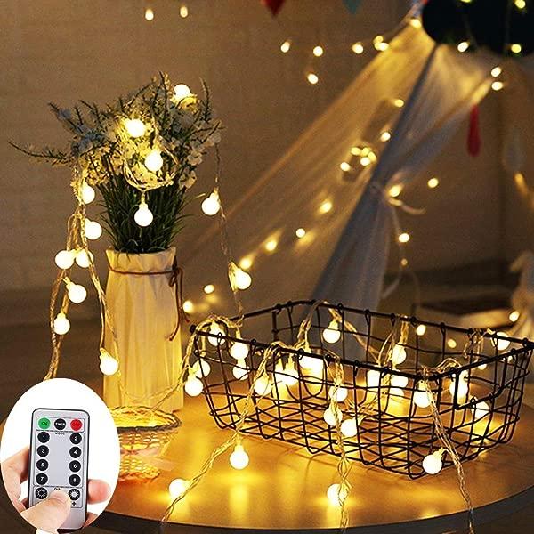 ZOUTOG 电池供电串灯 100 10 米 LED 灯泡暖白色地球仪串灯带遥控器装饰定时器仙女灯圣诞婚礼派对室内和室外