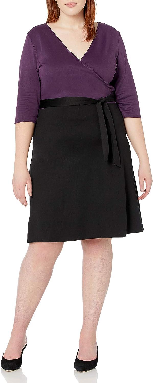 Star Vixen Women's Plus-Size Faux-Wrap Dress Black Skirt