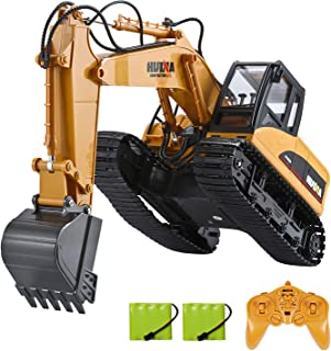 Luck-Broccoli Remote Control Excavator Toy Construction Truck with Metal RC Excavator with Sound and Lights 1:14 RC Tracto...