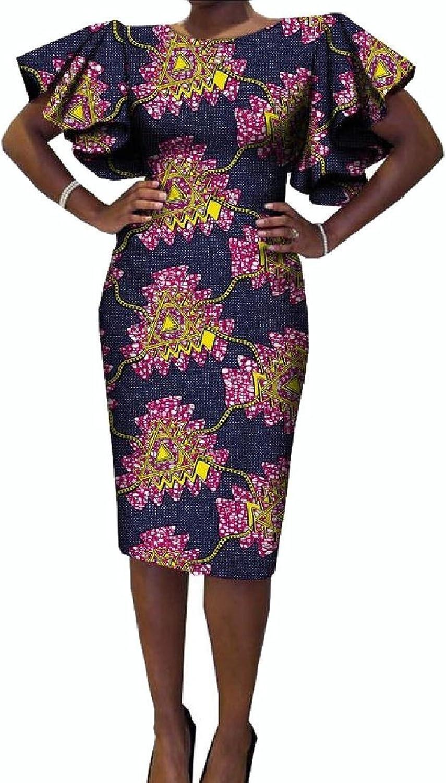 Comaba Women's Africa Flounced Dashiki Bodycon Cotton Elegant Party Dress