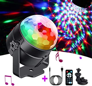 Party Lights Portable Rotating Lights Sound Activated USB Power Disco Ball LED Strobe Light 7 Color Mode with Remote for Car Home Room Parties Kids Birthday Dance Wedding Show
