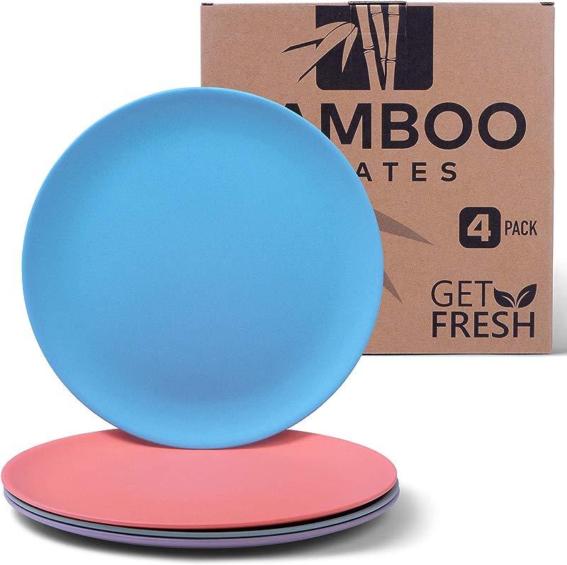 Get Fresh Bamboo Plates 4 Pack Bamboo Dinnerware Bamboo Fiber Dinnerware Set BPA Free Multiple Colors Bamboo Fiber Plates For Healthy Dining