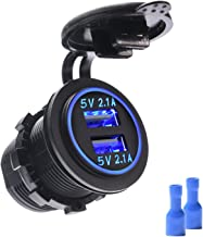 MICTUNING Dual USB Charger 4.2A with Blue Light Compatible for Cell Phone, Tabet, GPS for Car Boat Motorcycle Marine