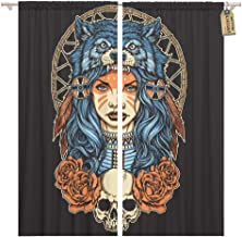 Golee Window Curtain Red Tattoo Native American Girl Wolf Headdress Full Color Home Decor Rod Pocket Drapes 2 Panels Curtain 104 x 63 inches