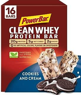 PowerBar Clean Whey Bar, Cookies and Cream, 2.12 oz Bar, (16 Count)