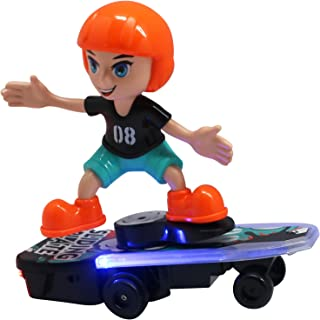 Skater Toy with Music and Lights, Mini Skateboard, BO, 360 Rotation, Performs Realistic Skateboarding Tricks, Bump 'N Go Feature, for Boy Plus Forest Animal Finger Puppet