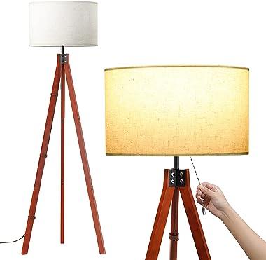 SUNMORY Lampadaire sur pied Salon, Lampadaire Bois avec 3 Températures de Couleur Ampoule LED 9W et Interrupteur à Chaîne à T