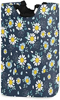 N\A Vintage Daisies Flower Panier à Linge Bleu foncé avec poignées Panier de Rangement Pliable étanche Grand Corbeille à L...